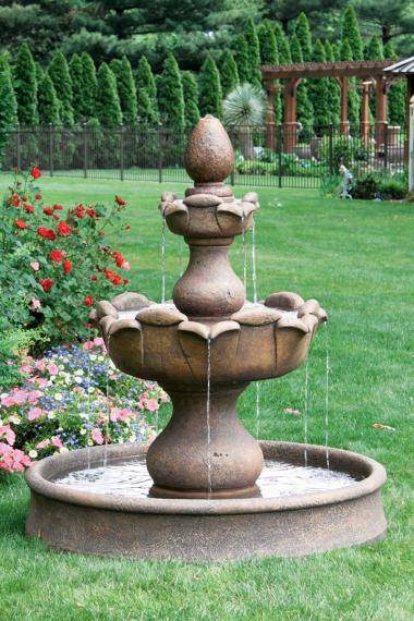 53 inches Two Tier Petal Fountain On 46 inches Round Pool
