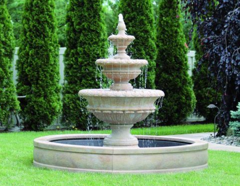 72 inches Chanticleer Fountain with Surround and 6' Fiberglass Pool