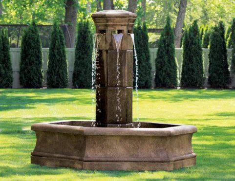 76 Inches Volterra Column Fountain on 6' Hex Pool