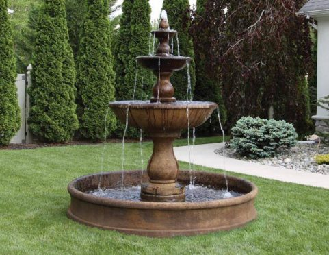 78 inches Three Tier Boca Round Fountain on 6' Pool