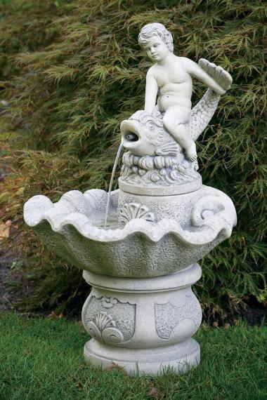 Boy Riding Dolphin Fountain
