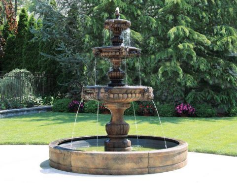 Three Tier Grandessa Fountain with Surround and 8' Fiberglass Pool
