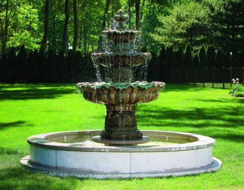 Three Tier Scallop Fountain On 8' Pool