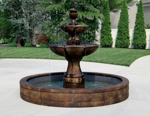 Two Tier Charlotte Fountain with Surround and 8 inches Fiberglass Pool