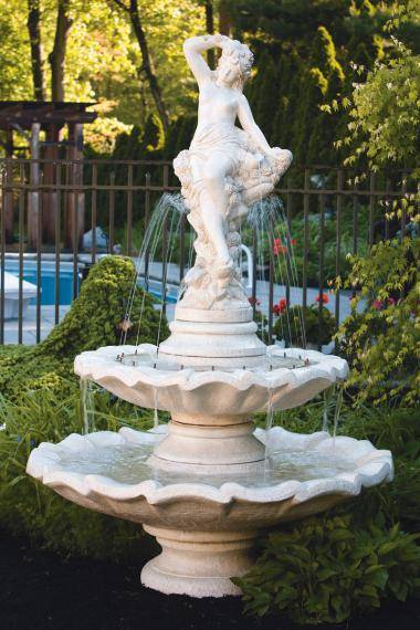 Two Tier Flower Nymph Fountain With 30 Inches Ring