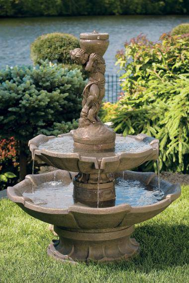Two Tier Girl Holding Urn Fountain