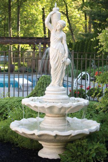 Two Tier Large Grecian Lady Fountain
